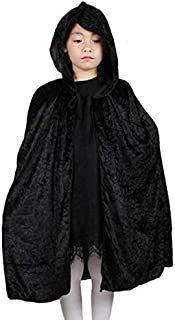 lkouq Red Black Hood Girl Boy Death Cloak Magician Witch Wizard Cloak Cape Robe Disfraz De Halloween para Niños Niños Negro