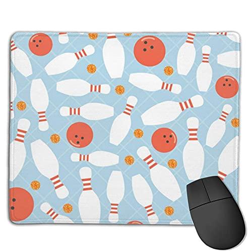 Bowlingkugel & Orange Dot Glitter Mauspad mit genähten Kanten, Mauspad mit rutschfester Basis, geeignet für Arbeit, Spiele, Büro, Heim, schnelles genaues Spiel und Bürosteuerung