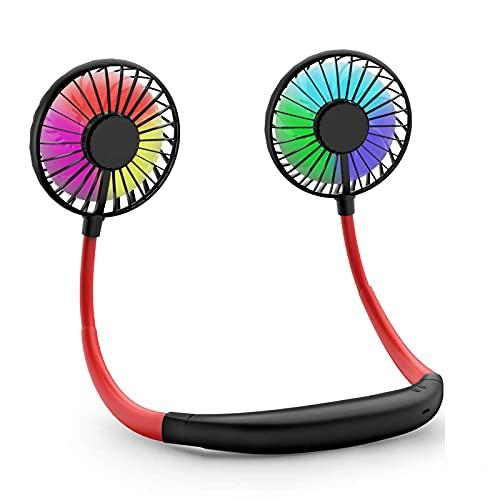 WANGPING Mini ventilador USB recargable para el cuello, ventilador de collar, ventilador fresco con doble cabeza de viento, 3 velocidades para viajar, deportes, acampar, al aire libre, oficina, sala
