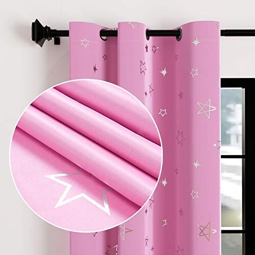 Encasa Homes Cortinas Opacas con Estampado de lámina Plateada para Dormitorio de niños, bloquea el 85% de Las Cortinas Reductoras de luz, Sonido y Calor con 2 Paneles tamaño 117x137 cm- Estrella Rosa