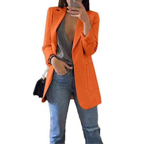 WanYangg Mujeres Color Sólido Blazer, Elegante Oficina Traje de Outwear Casual,Slim Chaqueta de Traje de Negocios Outwear Blusa Top 1 Botones Manga 3/4