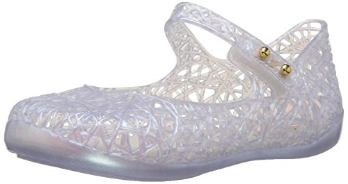Mini Melissa Girls' Mini Campana Zig Zag VI Mary Jane Flat, White Holographic, 10 Regular US Toddler