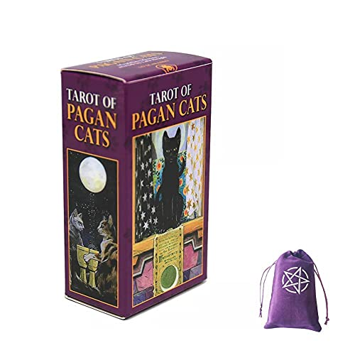 Tarot Of Pagan Cats Cards,With Velvet Storage Bag, tarot cards deck game