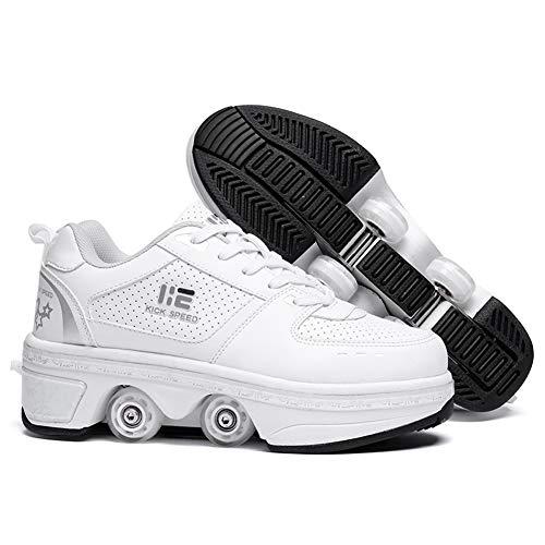 Kick Roller Schuhe Skate Walk Deformation Schuhe Outdoor Laufschuhe mit Rad für Erwachsene Kinder (weiß, EUR36)
