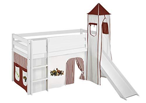 Lilokids Lit de Jeu JELLE avec Tour, Toboggan et Rideau - Lit pour Enfant en Bois, Blanc, 198 x 98 x 113 cm