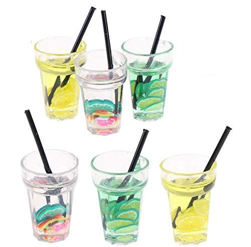 6 Stück Süßes Mini Becher Trinkglas mit Strohhalm für Miniatur Puppenhaus im Maßstab 1:12 Spielzeug Mini-Küche Miniatur Geschirr-Set Puppenhaus Dekor Zubehör Geschenk für Kinder