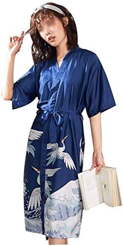 SCRT Pijama Patrón Primavera Y Verano Larga y Delgada de satén Blanco de la grúa Pijamas de Las Mujeres del Traje Atractivo Transpirable Suave Albornoz y Cerca (Color : Blue, Size : Large)