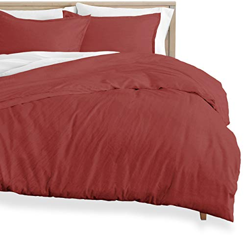 Bare Home Washed Duvet Cover and Sham Set - Oversized Queen - Premium 1800 Ultra-Soft Brushed Microfiber - Hypoallergenic, Easy Care, Stain Resistant (Oversized Queen, Sandwashed Rosewood)