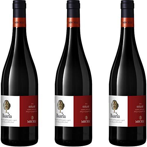 Syrah   Baaria   IGT Terre Siciliane   Vino Rosso Tipico della Sicilia   3 Bottiglie 75Cl   Idea Regalo