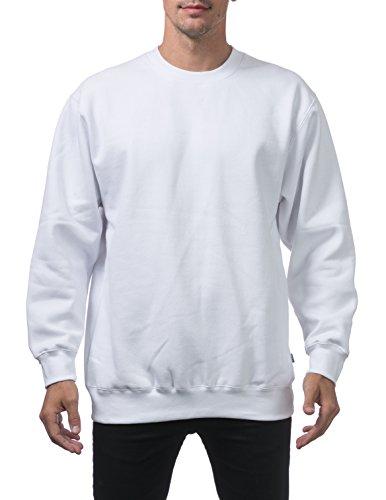 Pro Club Men's Heavyweight 13oz Crew Neck Fleece Pullover Sweatshirt, 2X-Large, Snow White