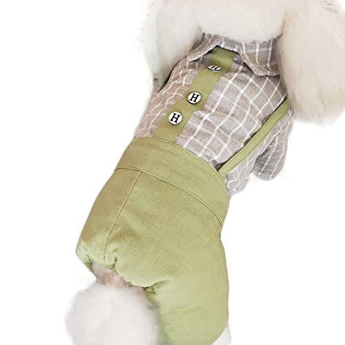 Ice con Huisdier Kleding, Viervoeten Winter Warm Verdikking Zacht Katoen Schattige Huisdier Bib Broek Pak met Geruite Shirt voor Kleine Medium Grote Kat Hond