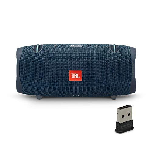 JBL Xtreme 2 Portable Bluetooth Waterproof Speaker Bundle with Plugable USB 2.0 Bluetooth Adapter - Blue (Renewed)