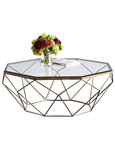 DAKEUR Mesa de té Sala de Estar Mesa de Vidrio Templado Hierro Forjado Personalidad Moda Creativo Pequeño apartamento Arte Moderno Simple, Color Transparente (57 & Times; 57 & Times; 45cm)