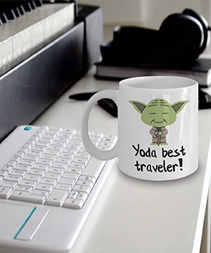N\A Taza de Viaje Taza Grande. Regalos de Viajero Regalos de Mejor Viajero de Yoda Taza de Juego de Palabras de Mejor Viajero de Yoda Taza Grande.
