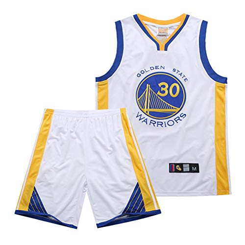 DLBJ Conjunto de camiseta de baloncesto de la NBA Warriors # 30 Stephen Curry para niños y adultos, camiseta y pantalones cortos para uniforme de baloncesto