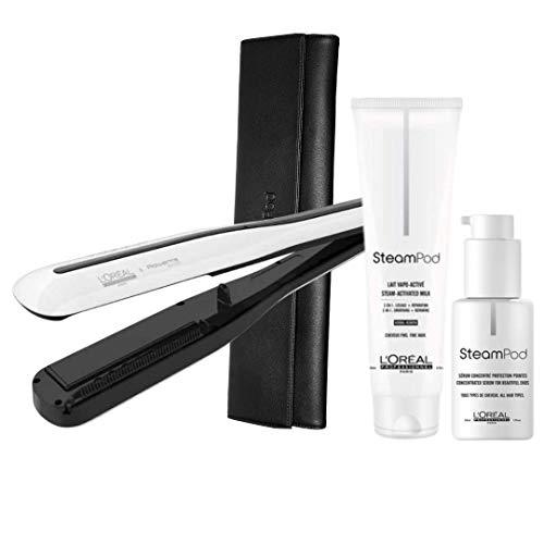 Steampod 3.0 + Crema de alisar cabello grueso 150ml + Serum 50ml + neceser de almacenamiento
