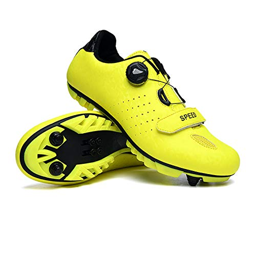 Men's Cycling Shoes, Unisex Adults' Mountain Bike Shoes Breathable Nylon Pro Cycling Lock Shoes with 5 Pairs Sports Socks,Yellow,45