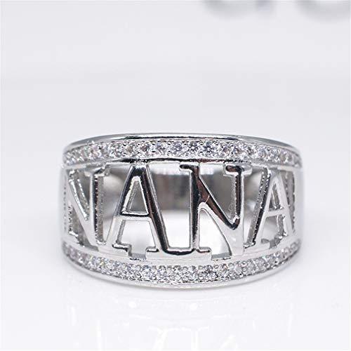 Hengxing Exquisito Anillo de Nana con circonitas cúbicas de imitación de Diamante Nana Regalo de cumpleaños, Aleación, Plateado, Size11