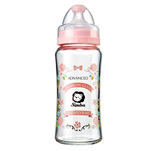Simba Crystal Romance Wide Neck Borosilicate Glass Feeding Bottle - 9 oz (Pink)