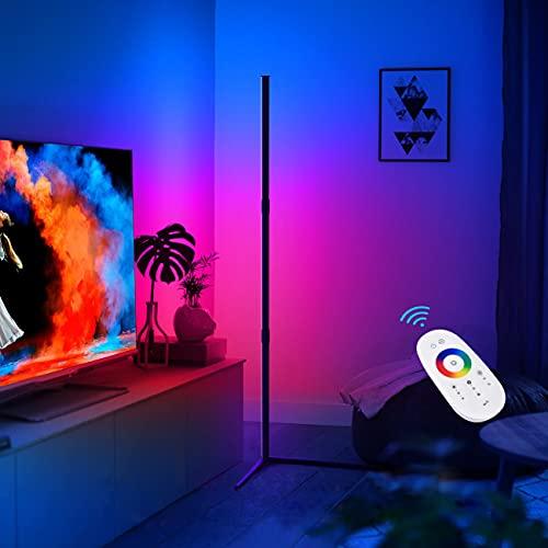Opard LED Stehlampe Dimmbar für Wohnzimmer Schlafzimmer, Modern RGB Farbwechsel Standleuchte mit Fernbedienung, Eck Stehleuchte Stufenlos Dimmbar mit 16 Millionen Farben 350+Mehrfarbenmodi (130cm)