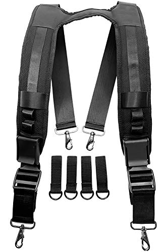 Heavy Duty Tool Belt Suspenders for Men and Women, Police Duty Belt Harness with Attachment Loops, Padded Straps and Front Adjustable Buckles, Extra-Durable Ballistic Nylon Work Suspenders, Black