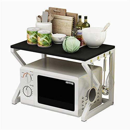 Yingm Köksbänk hylla mikrovågsugn rack kök två nivåer förvaring kryddhylla dubbel ugn tandställningshylla golv riskokarhylla förvaring av bänkspisar (färg: A, storlek: 57 x 37 x 40 cm)