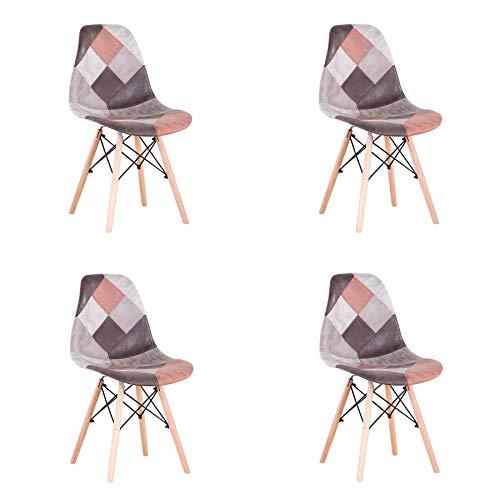 EGOONM Set di 4 Sedie da Pranzo Patchwork, Sedie in Tessuto di Lino,Sedie da Soggiorno,Sedia da Ufficio (Colore Vintage)