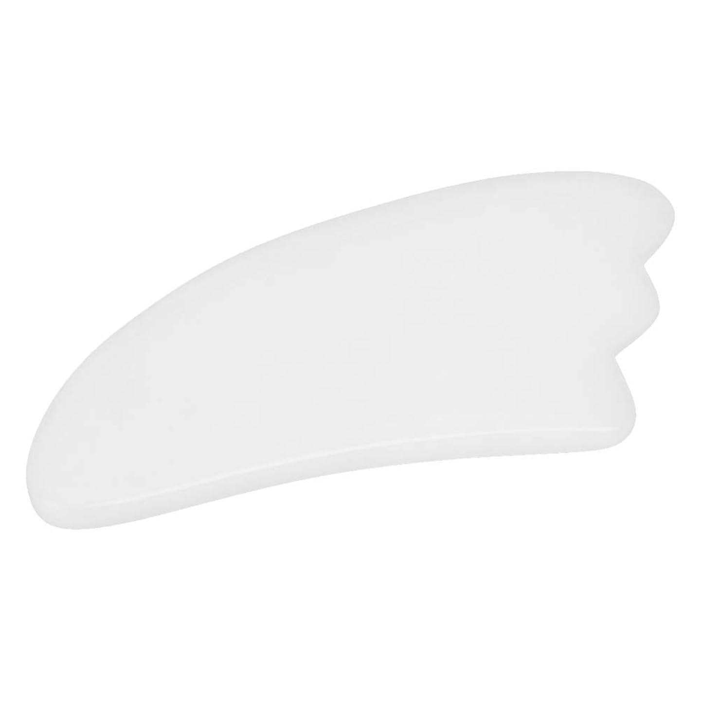 パンツ分割懲らしめカッサ板 - Delaman かっさ プレート、羽型、マッサージ器 、天然石、血液の循環を促進し、美顔、ホワイト