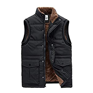 CROYEE Men's Winter Puffer Vest Quilted Soft Fur Lining Sleeveless Vest Jacket