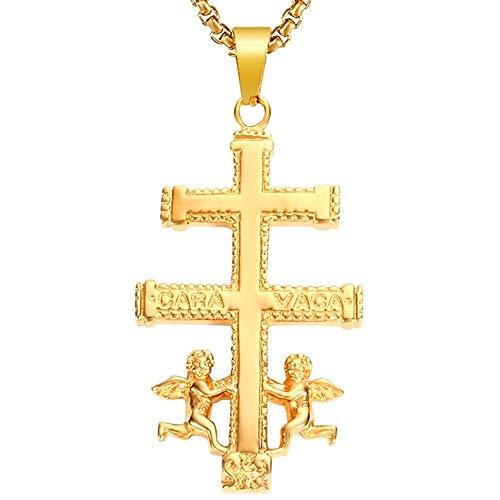 BOBIJOO JEWELRY - Gran Colgante Cruz de Caravaca, de Protección, de Acero, de Plata Chapado en Oro + Cadena