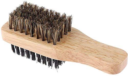 POFET Cepillo para barba, doble cara, exfoliante de pelo facial, peine de afeitado masculino, brochas de bigote, mango de madera maciza (color de madera)
