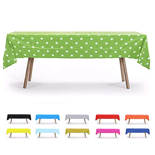 "5 Pack, 54"" x 108"" Lime Green Polka Dot Rectangular Plastic Table Cover, Party Table Cloths, Dining Table Cover, Plastic Table Cloth Reusable (PEVA) (Polka Dot Lime Green)"