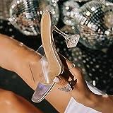 YHCS Moda Sandalias de Verano PVC Crystal High Toel Toels Alto Tacones Altos Mujeres Transparentes Sandalias Sandalias Zapatillas Bombas 10.5cm Tamaño Grande 41 42