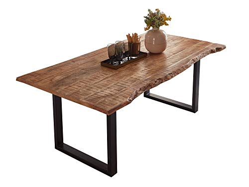 SAM Esstisch Dora 160 x 85 cm, Mangoholz massiv, lackiert & naturfarben, Baumkantentisch mit Metallgestell in Mattschwarz, echte Baumkante, 26 mm