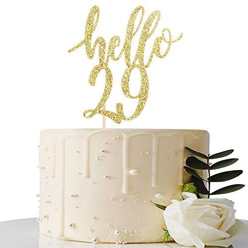Hello 29 Cake Topper – 29th Birthday / 29th Anniversary Party Cake Decoration, 29th Birthday / 29th Anniversary Party Decorations Supplies (Gold, Hello 29)