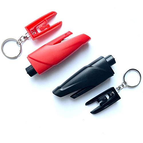 SEMTION Window Breaker, Car Emergency Escape Tool Window Glass Breaker Keychain, Pack of 2 (Black-Red)
