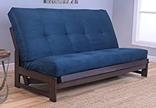 Colorado Reclaim Mocha Frame and Mattress Set w/ Choice of Fabrics, 7 Inch Innerspring Futon Sofa Bed Full Size Aspen Style (Frame w/ Suede Navy)