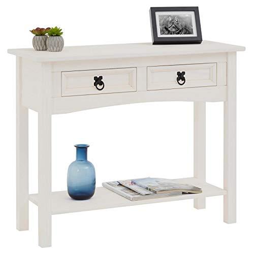IDIMEX Table Console Rural Table d'appoint rectangulaire en pin Massif Blanc avec 2 tiroirs et 1 étagère, Meuble d'entrée Style Mexicain en Bois dim 90 x 73 x 35 cm