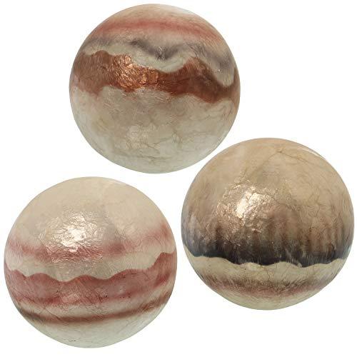 DRW Bolas decoración nacaradas Redondas de 10 cm (Ondas Marrones)