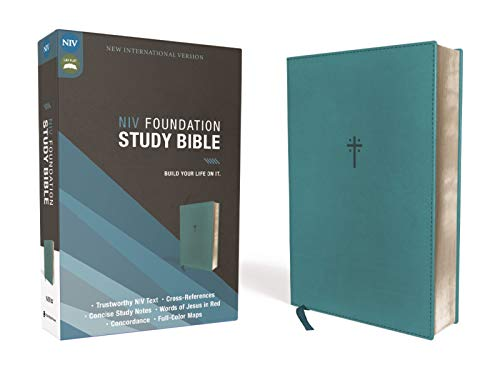 Compare Textbook Prices for NIV, Foundation Study Bible, Leathersoft, Teal, Red Letter  ISBN 9780310456544 by Zondervan