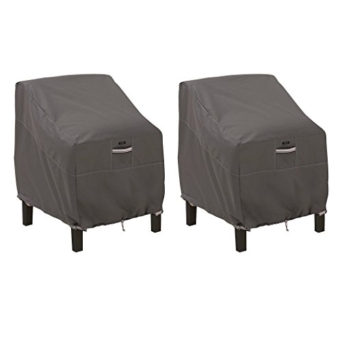 Classic Accessories 55-160-015101-2PK Ravenna Water-Resistant 38 Inch Patio Lounge Chair Cover, 2 Pack,Taupe,Large Lounge Chair, 2 Pack