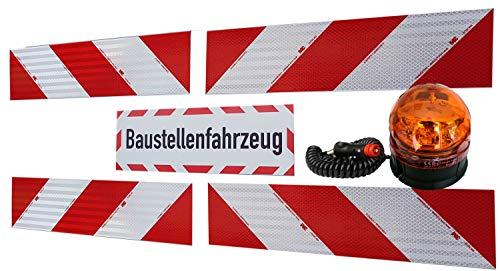 UvV Rundum Warnleuchte Kennleuchte orange magnetisch + 4 x 3M-Folien magnetische Kfz-Warnmarkierung Typ 3410 + 45x15 cm Magnetschild reflex -Baustellenfahrzeug-