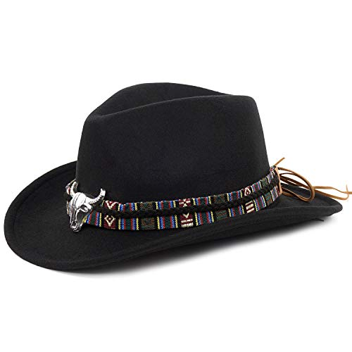 FALE Cowboy Hat Western Crushable Felt Cowgirl Hat Cattleman Outback Hat for Men and Women Black