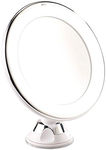 Sichler Beauty Vergrößerungsspiegel: Rasier- & Kosmetikspiegel, Ø 17,5 cm, 5-Fach, 25 LEDs, 360°-Saugnapf (Rasierspiegel Saugnapf)