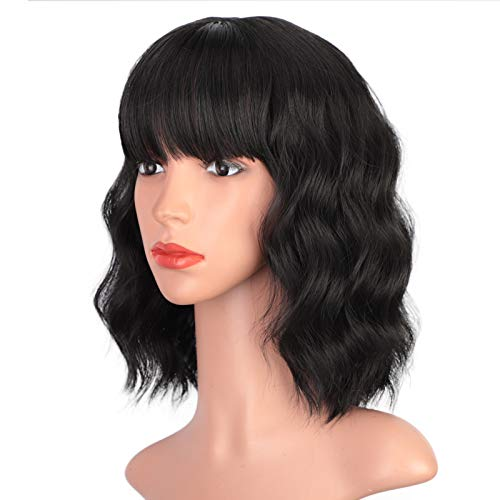 """ENTRANCED STYLES Black Wig with Bangs Short Wavy Bob Wigs for Women Pastel Realistic Wig Heat Resistant Synthetic Wig Daily Party Cosplay Use 12"""""""