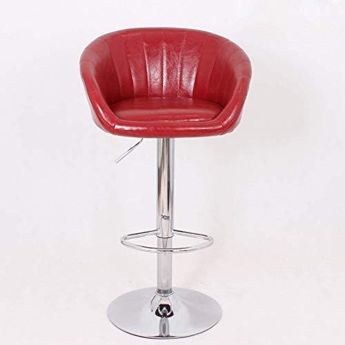 Altura Ajustable Silla de Cuero de imitación de Bar, de 360 Grados giratoria Silla con Respaldo taburetes, Metal Contador Taburete Silla 914 (Color : Red)