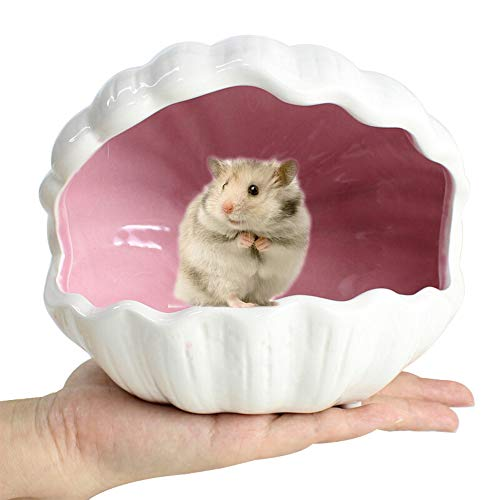 gutongyuan Small Animal Nest Hideout Hamster House Critter Bath Adorable Shell Shape Ceramic Igloo Cave for Gerbils Chinchillas Hamster Mice Rat 5.9inch (Pink, L)