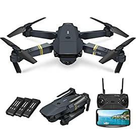 Quadcopter Drone With Camera Live Video, EACHINE E58 WiFi FPV Quadcopter with 120° FOV 720P HD Camera Foldable Drone RTF… 1 Take HD pictures and videos, enjoy FPV function: The E58 drone is equipped with a 120° Wide-angle 720P HD Camera including adjustable angle, which captures high-quality video and clear aerial photos. The Wi-Fi real-time transmission FPV system can connect to your phone with the drone and the view will be shown directly on your phone, thus enjoy the world above the horizon, accurately capture photos and record videos for extraordinary moments. Can be carried around & Replaceable Drone arm : The small fuselage contains excellent performance, clever folding design, let you travel light, enjoy the flight fun. The drone arm is replaceable, when the motor or drone arm is broken, you don't need to worry about the drone not performing anymore. Just replace the drone arm and it can fly again. It's easy for everyone to fly the drone: On altitude hold mode, you can accurately lock the height and location, stable hover and capture video or photos from any angle shooting, making the experience very easy and convenient, even a novice, can play this drone easily. The drone automatically takes off and lands with one click, which is very handy. There is an emergency landing feature to prevent collision with other things.