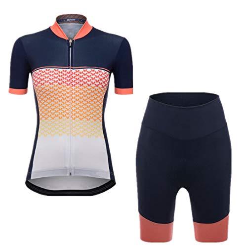 X-Labor Damen Radtrikot Set Atmungsaktiv Jersey Kurzarm + Radhose mit 3D Sitzpolster Outdoor Fahrradbekleidung A-orange L
