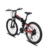 BAHAOMI Bicicleta Eléctrica 27,5' 21 velocidades Bicicleta de montaña eléctrica Plegable para Adultos 3 Modos de Trabajo E-Bike Sistema de Doble absorción de Impactos,Black Red,48V 500W 9AH